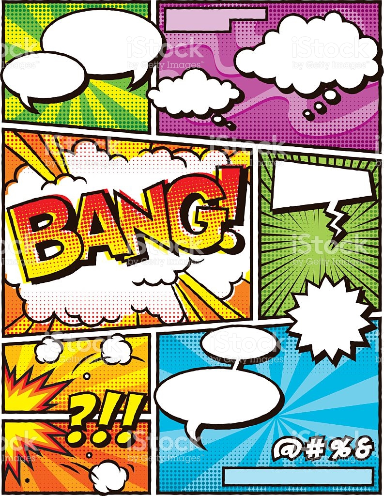 Vintage Comic Book Layout Template stock vector art 501485968.