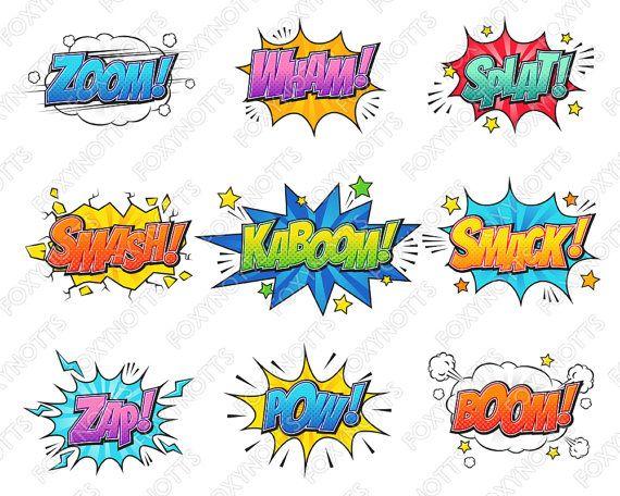 Superhero Comic Book Words Clip Art.
