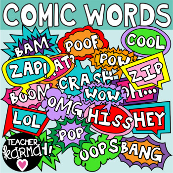Comic Sound Words, Onomatopoeia Clipart.
