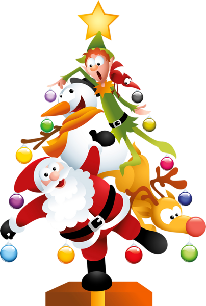 COMICAL SANTA, SNOWMAN, REINDEER AND ELF CHRISTMAS TREE CLIP ART.