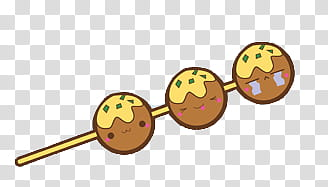 Comida Kawaii en zip, brown and yellow lolipop transparent.