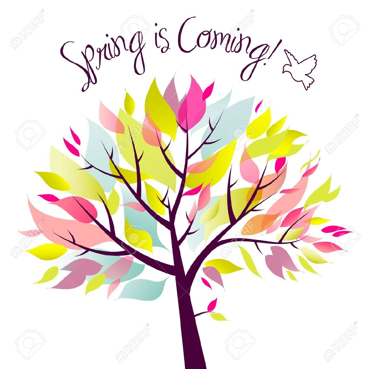 Spring is coming clipart.