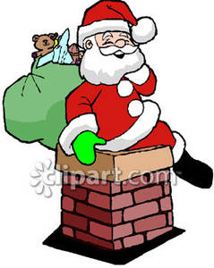 Gallery For > Santa Coming Down the Chimney Clipart.