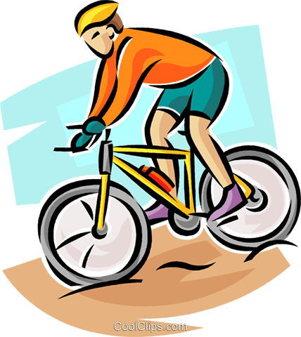 Cyclist coming down hill Royalty Free Vector Clip Art illustration.
