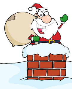 Santa coming down chimmney clipart.