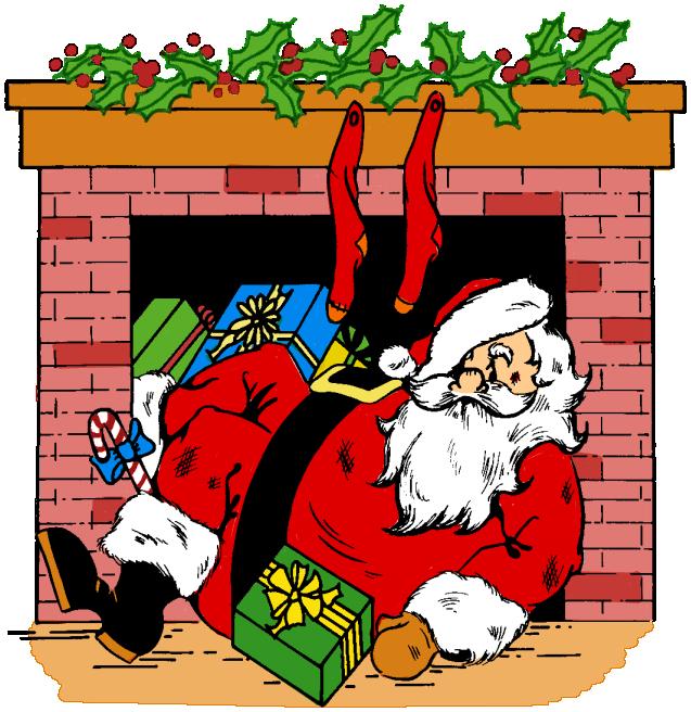 Santa coming down chimmney clipart.