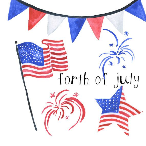 Watercolor forth of July Americana clip art american clipart 4th.