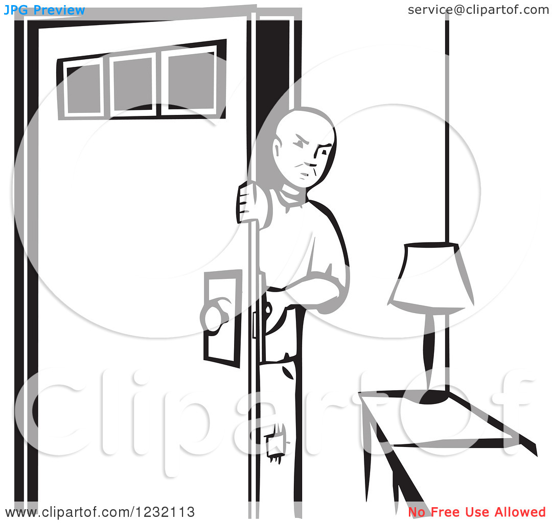 Clipart of a Woodcut Poor Man Coming Home, in Black and White.