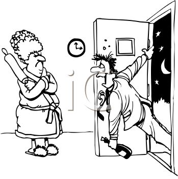 Royalty Free Clipart Image: Drunk husband coming home late to.