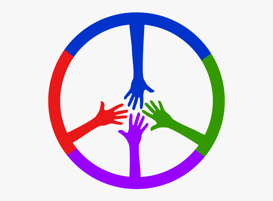 4 Colored Hands Coming Together To Form A Peace Sign.