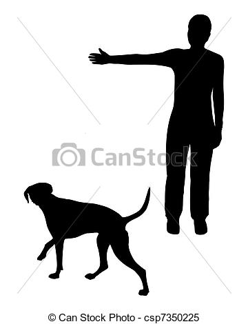 Vector Clipart of Dog training (obedience): Command: Go right.