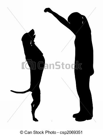 Clipart of Dog training (obedience): command: up csp2069351.