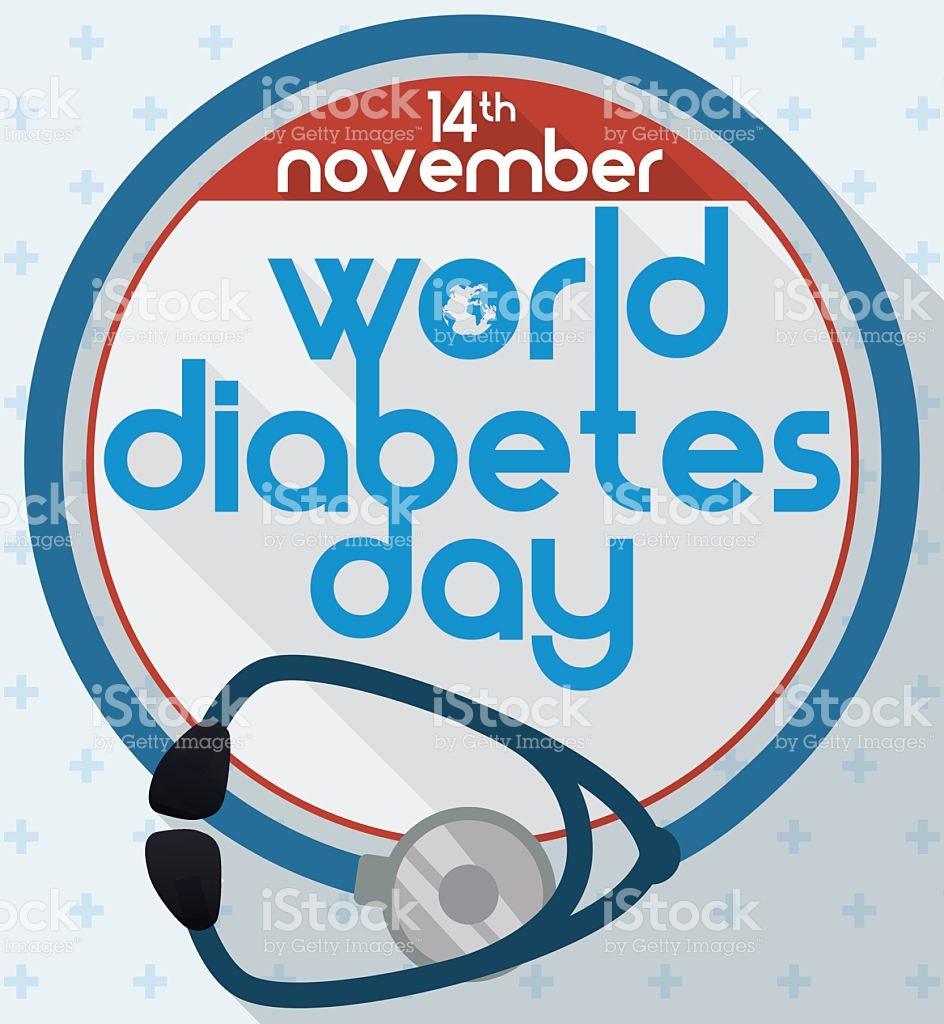 Stethoscope Like Blue Circle To Commemorate World Diabetes Day.