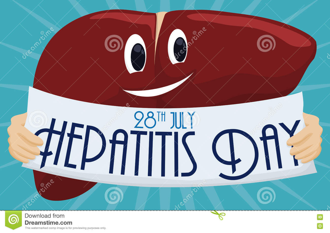 Cartoon Liver Holding A Reminder To Commemorate Hepatitis Day.