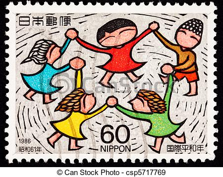 Stock Illustration of Group of people holding hands spinning in a.