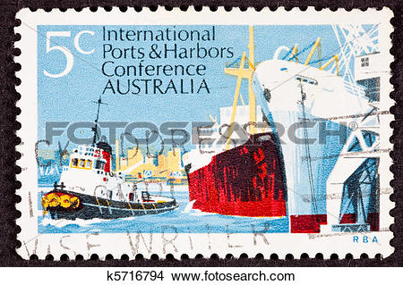 Drawings of Australian Stamp Commemorating the International Ports.