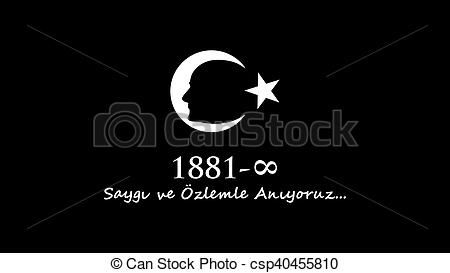 Clipart of November 10 Ataturk Commemoration Day and Ataturk week.