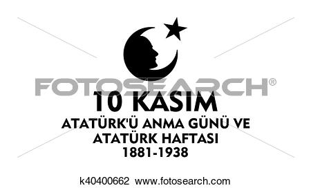 Clip Art of November 10 Ataturk Commemoration k40400662.