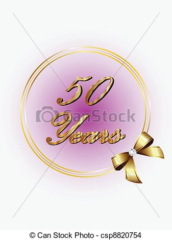 EPS Vector of 50 years commemoration with ribbon csp8820754.