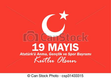 Vector Clip Art of May 19 Ataturk Commemoration and Youth and.