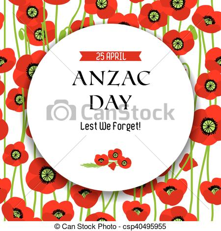 Clipart Vector of Commemorative Anzac day background for design.