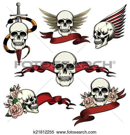 Clipart of Set of commemorative skull icons k21812255.