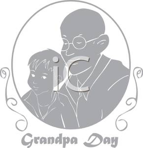 A_Greyscale_Cartoon_Commemorative_For_Grandpas_Day_Royalty_Free_Clipart_Picture_101117.
