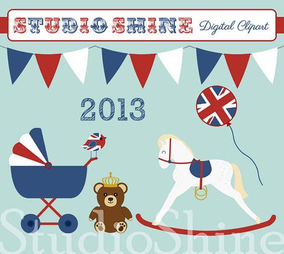 Royal Baby Commemorative Clipart Digital Clip art by StudioShine.