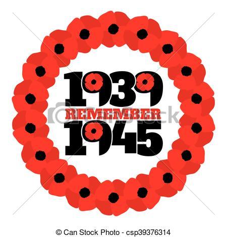 Vector Clip Art of World War II commemorative symbol with dates.