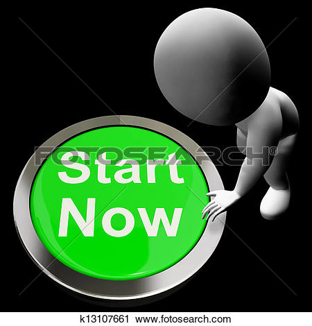 Clipart of Start Now Button Means To Commence Immediately.