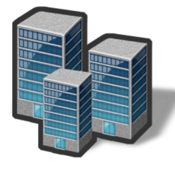 3 Buildings Icon, PNG ClipArt Image.