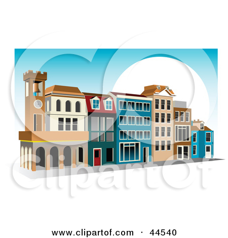 Clipart Illustration of a Commercial Shopping Center With Colorful.