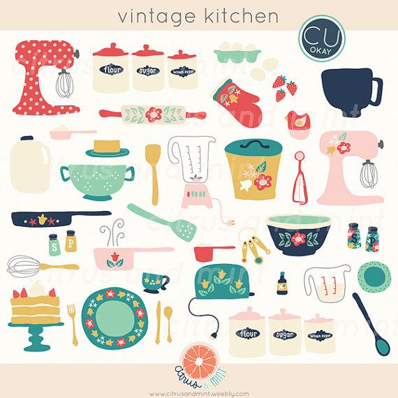 Vintage Kitchen Clip Art.