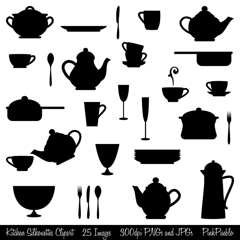 Kitchen Silhouettes Clipart Clip Art, Cooking Clipart Clip Art.