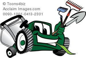 Clipart Cartoon Lawn Mower With Gardening Tools.
