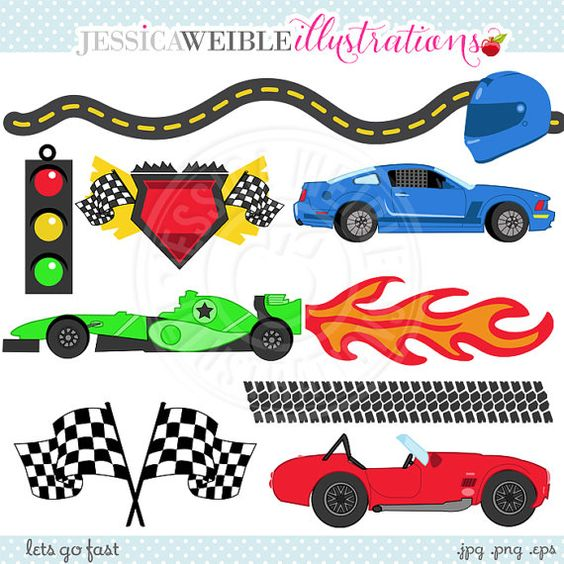 Lets Go FAST Cute Digital Clipart.
