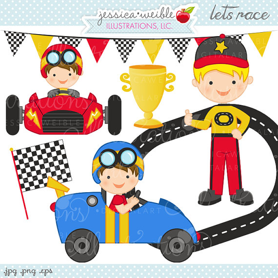 Lets Race Cute Digital Clipart.