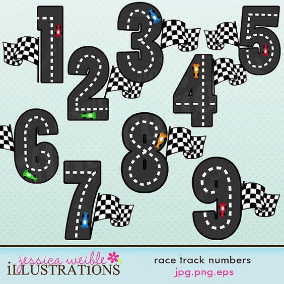 Race Track Numbers Cute Digital Clipart.