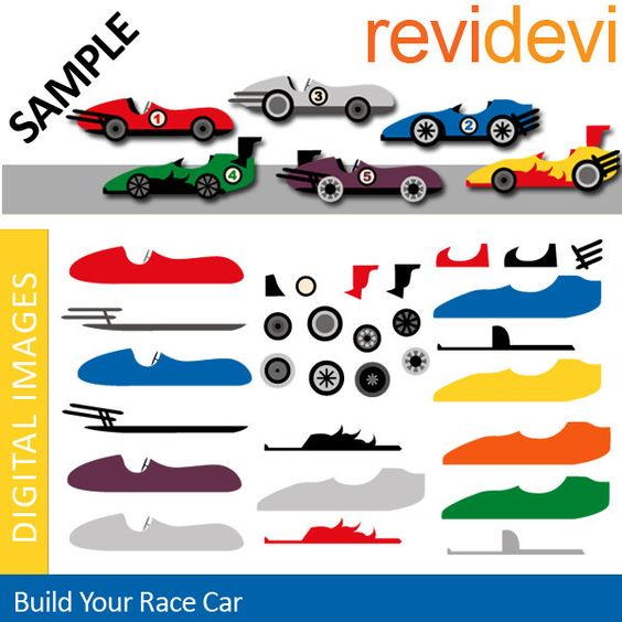Race cars DIY clipart.