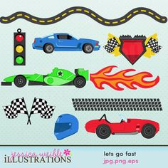 Race Track Numbers Cute Digital Clipart.