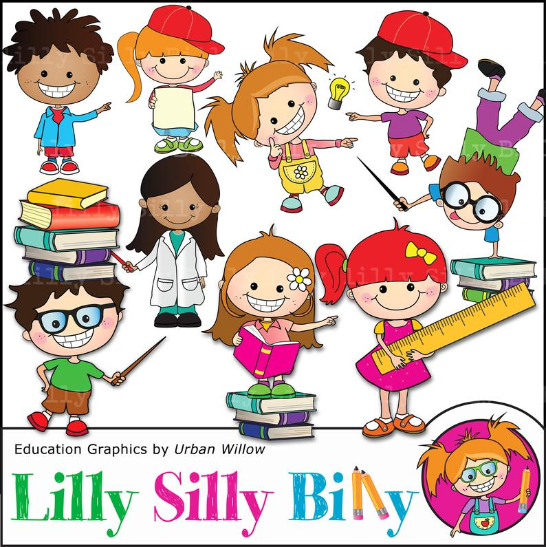 Kids school clipart Commercial use clipart,funny clipart, cute kid  characters with books, rulers. Digital clipart. Digital images..