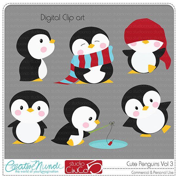 Cute Penguins Cliparts Vol 3.