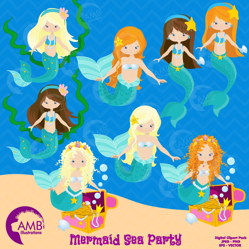 Mermaid clipart, commercial use, vector graphics, digital clip art, digital  images, AMB.