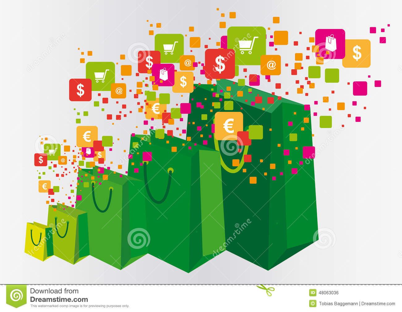 Shopping World Illustration Stock Vector.