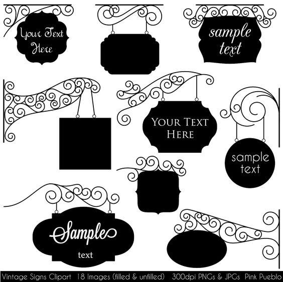 Vintage Signs Clipart Clip Art, Frames Clipart Clip Art.