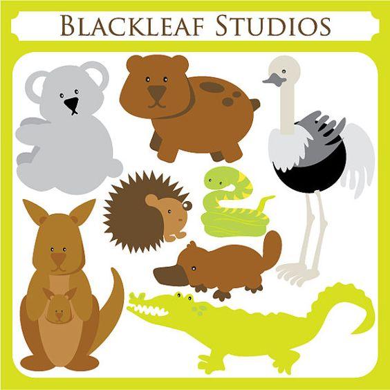 Australian Animals Clipart Set Digital Download Images, Scrapbook.