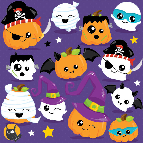 Halloween clipart commercial use, pumpkin clipart vector graphics.