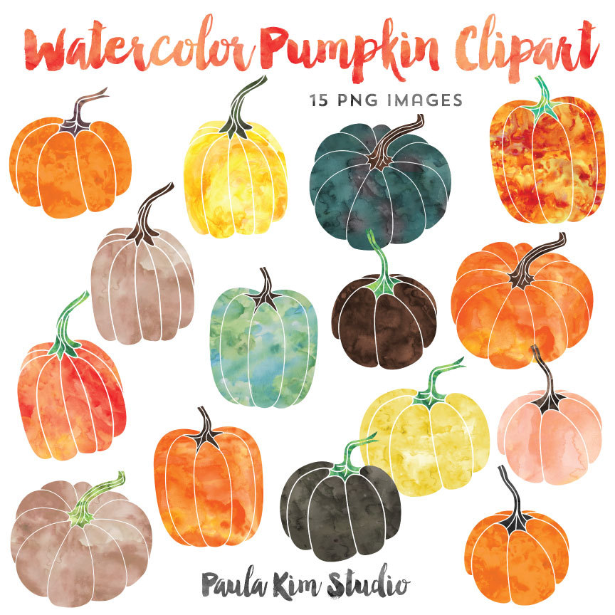 Watercolor Graphics, Pumpkin Clipart, Fall Clip Art, Instant.