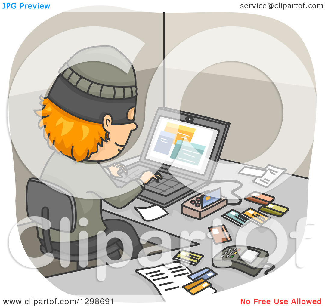 Clipart of a Thief Using a Device and Laptop to Commit Credit Card.