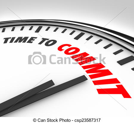 Clipart of Time to Commit Words Clock Dedication Pledge Vow.